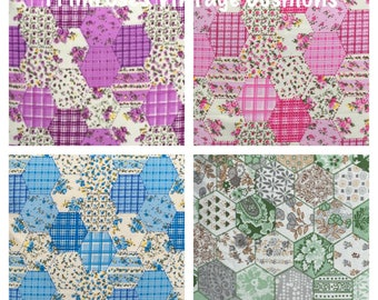 """NEW 16"""" Pink,Blue,Purple Or Green Patchwork Cushion Cover Shabby Chic, Country Cottage, Vintage Style"""