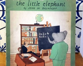 Jean De Brunhoff, The Story of Babar the Little Elephant, Rare 1st Edition Softcover (1933)