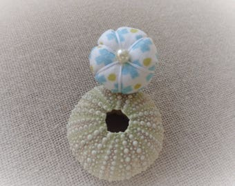Ring flower ring ring ring Japanese flower turquoise blue pumpkin fabric