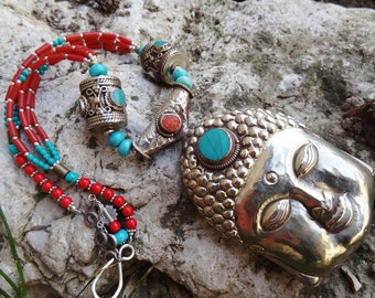 Necklace Nepalese turquoise coral Buddha