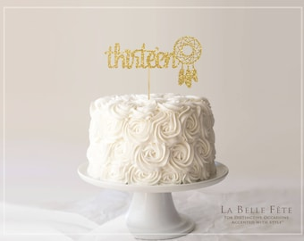 THIRTEEN gold glitter cake topper with dreamcatcher / 13 / thirteenth birthday