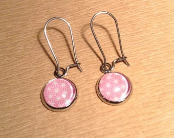 Earrings cabochon pink 10 mm