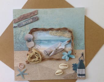 Card all occasion handmade 3D birthday, seaside, beach