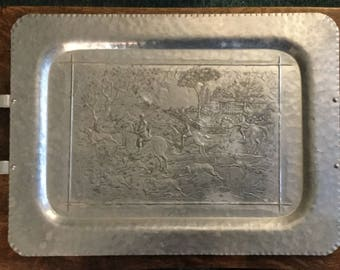Vintage Keystone Ware Fox Hunt Scene Hammered Alluminum Handled Tray