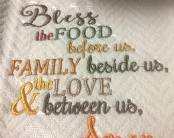 Bless the Food before us Kitchen Towel