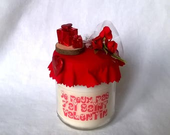 "Valentines day candle gift ""I can't I have Valentine's day"" deco Red"