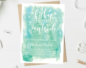Baby Shower Invitation, Winter Baby Shower Invitation, Baby It's Cold Outside, Gender Neutral, Watercolor, Snowflakes, Printable, Printed
