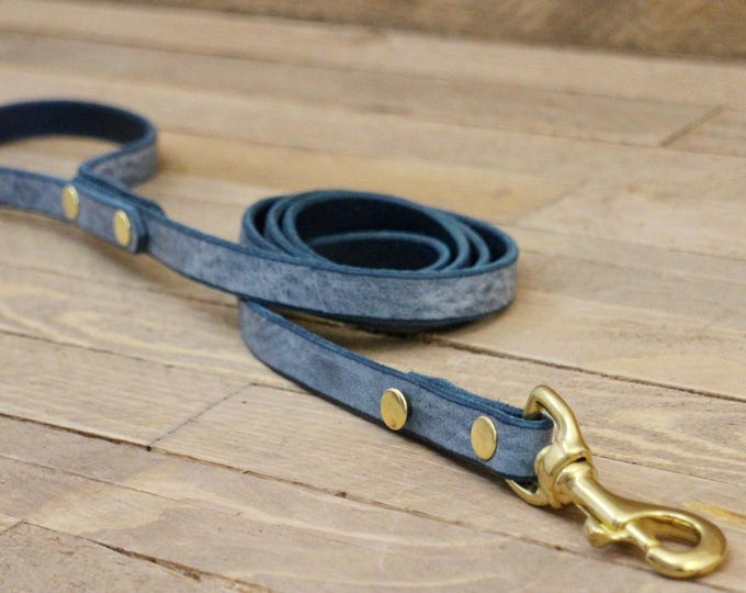 Leather leash, Cloudy sky  leash, Dog leash, Pet gift, Premium leather leash, Leather leash, Solid brass hardware, Premium leash,