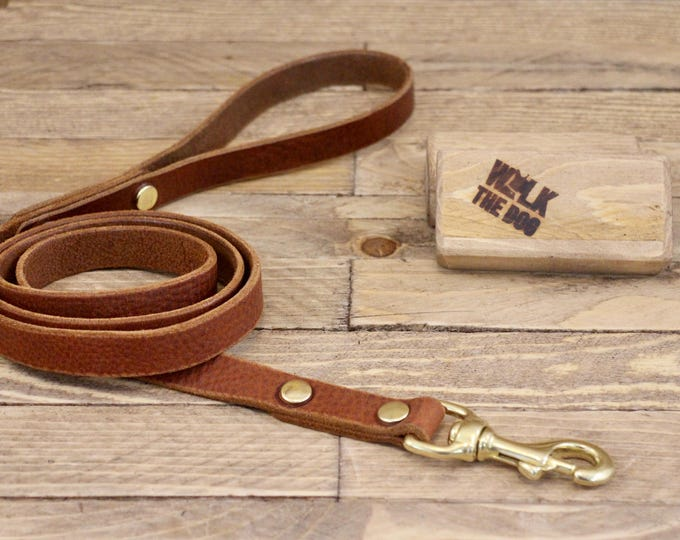 Leather lead, Solid brass hardware, Dog leash, Leather dog leash, Pet gift, Walk leash, Puppy,  Handmade leather leash, Dog collar, Brown.