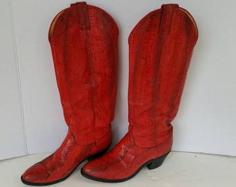 Vintage Knee High Boots Red & Black Snakeskin