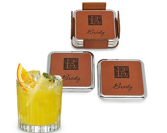 Square Monogrammed Silver and Leather Coaster Set - 4 Piece Coaster Stack - Personalizes Coasters - Stylish Bar Coasters - Man Cave Idea