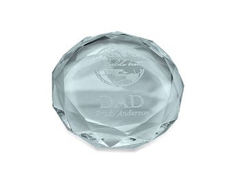 Personalized Crystal Paper Weight with World's Best Dad Motif - Engraved Glass Paper Weight for Dad - Engraved Luxury Cut Glass Paper Weight