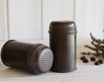 Antique French Pair of iron  sugar shakers