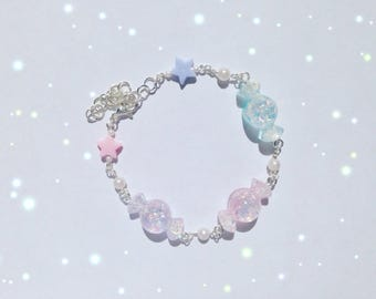 Kawaii Candy Bracelet with Pearl and Star Details, Fairy Kei, Sweet Lolita, Pastel Kei, Harajuku etc inspired