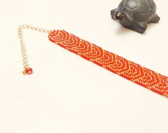 HIMIKO Japanese Red and gold beadwork bracelet