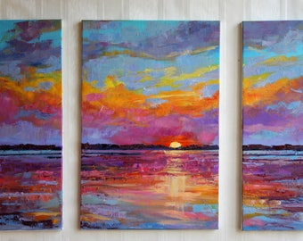 Palette knife oil painting Original gift for Colorful sky painting Original oil Set of 3 wall art decor Sunset bright Art purple yellow Blue
