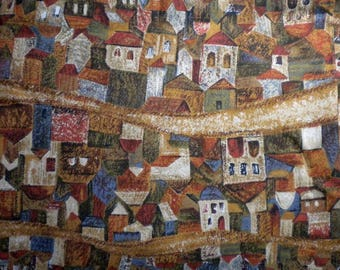 Houses & Roads Cotton Fabric, 1- 1/2 yd cut, designed by Nancy Crow, destash - pay it forward, PIF