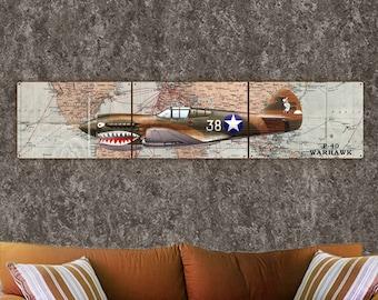 "P-40 Warhawk,Airplane, Metal Triptych 12""x54"", Metal Art, FREE SHIPPING 3-5 Business Days"