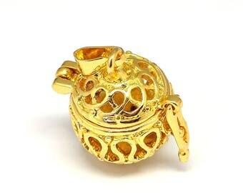 1 Gold Tone Brass Angel Caller Bola Harmony Ball Wish Box Pendants Round (Fits 10mm Bead) (B487j)