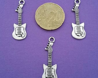 Set of 3 Silver guitar charms
