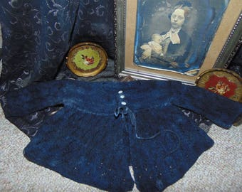Vintage Antique Black Knitted Baby Jacket Curiousity Cabinet Gothic Oddity