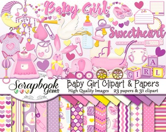 BABY GIRL Clipart and Papers Kit, 31 png Clip arts, 23 jpeg Papers Instant Download infant pink purple bottle pacifier binky moon stroller