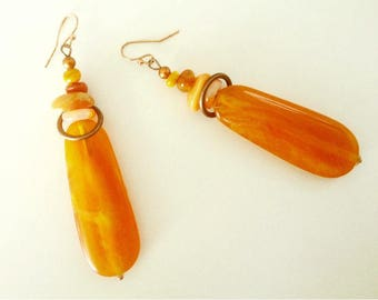 Unique OOAK Copper, Shell, Coral and Imitation Amber Earrings