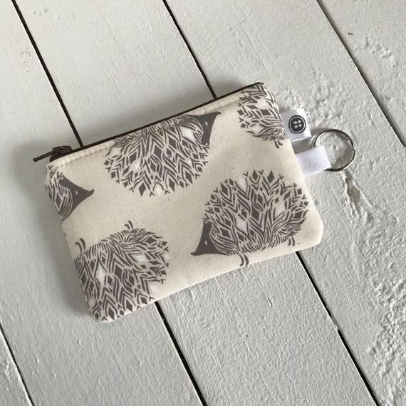 Change Purse | Hedgehog, Credit Card Holder,  Zipper Pouch, Cotton