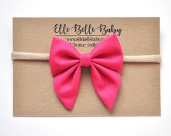 Magenta Pink Elle Sailor bow - Baby Headband-Cotton Newborn Hair Bow-Hairbow with tails-Toddler clip-Nylon Headband-Alligator Clip