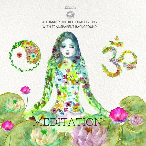 original yoga painting omwoman yoga meditate. Watercolor Clipart Floral Asanas Yoga Woman.Hand Painted,Om ,original Ying Yang, Zen,Meditation,Lotus,Instant Download - Printable, Wall Art From Artquarela Original Painting Omwoman Meditate