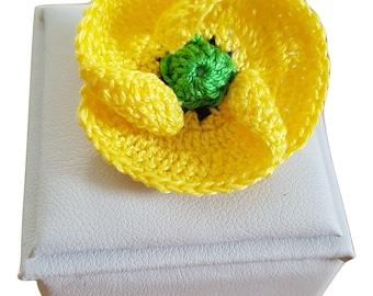Yellow Poppy brooch