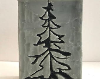 Handmade Soap, Hand Carved, Evergreen Tree