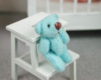 Teddy in the color turquoise for the doll, the Dollhouse, miniature dollhouse miniatures