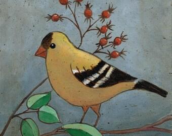 Yellow Bird Original Folk Art Canvas Painting
