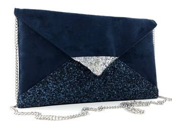 Navy Blue evening clutch bag in suede and dark blue and silver - glitter clutch with sequins - woman bag
