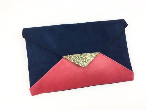 pochette de soir e mariage bleu marine et rose corail en. Black Bedroom Furniture Sets. Home Design Ideas