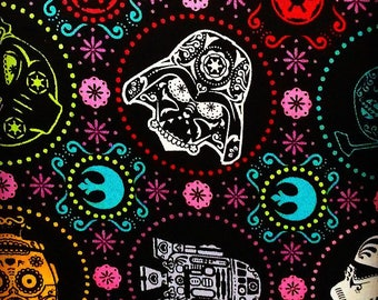 "Star Wars Sugar Skull CHaracters on black fabric, By the Half Yard, 44"" wide, cotton - darth vader - r2D2 - C3PO - storm trooper"