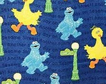 """Big Bird and Cookie with lamp post fabric, By the Half Yard, 42"""" wide, 100% cotton, FLANNEL fabric, sesame street fabric, big bird fabric"""