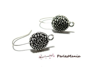Crochet Picot S1128523 clip ANTIQUE silver metal earrings