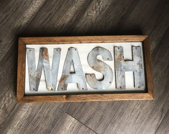 Wash Sign, Bathroom Decor, Laundry Room Decor, Rustic Metal Sign