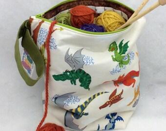 Knitting Bag, Large Knitting Project Bag, Dragon Knitting Bag, Crochet Tote, Large Knitting Bag, All Purpose Project Bag,