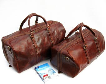 Enzo Olletti Leather Travel Bag Weekender Set