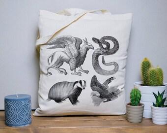 Tote bag Hogwarts houses - Harry Potter, Gryffindor, Hufflepuff, Slytherin, Ravenclaw, Vintage engraving, wild animals, illustration