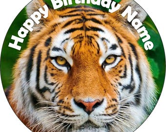 EDIBLE Wafer Tiger Birthday cake Topper