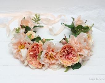 Peach flower crown Boho wedding Flower halo Bridal crown Floral crown Wedding flower crown Flower crown Floral head wreath Bridal crown