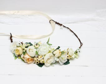Ivory yellow flower crown Floral headband Flower halo Bridal headpiece Boho wedding Bridesmaid crown Maternity photoprops Flower hair wreath