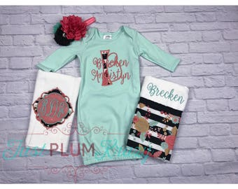 Baby girl coming home outfit,baby girl gown,monogrammed burp cloths,newborn girl outfit,personalized gown,baby girl,coral and mint outfit