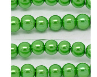 Set of 50 glass Pearl 6 mm beads