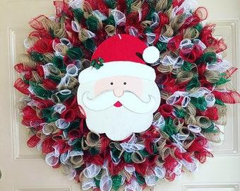 Santa Wreath, Christmas Wreath, Holiday Wreath, Deco Mesh Wreath, Holiday Decor, Outdoor Wreath, Porch Wreath, Christmas Decor, Santa Decor