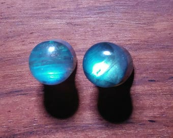 Pair of 2g (6mm) Labradorite Stone Plugs AAA Grade